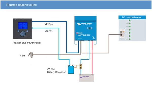 Пример подключения аккумуляторного контроллера